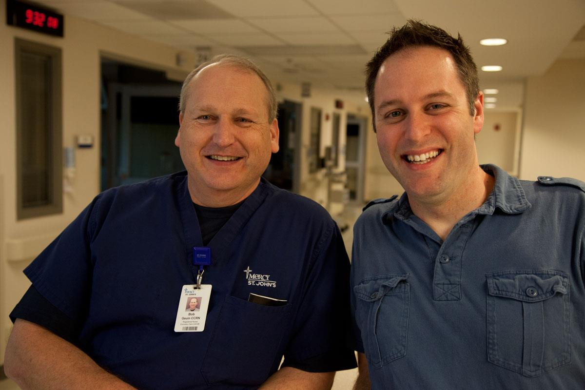 Nurse Bob and Jason, posing for a photo during the Day Before Easter shoot.
