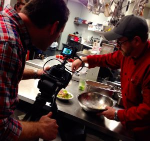Timelapse and high frame rate shooting of salad prep in a restaurant.